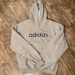 Adidas Spell Out Gray & Navy Embroidered Hoodie